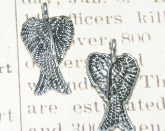 2 charms 30x18mm silver Angel Wings