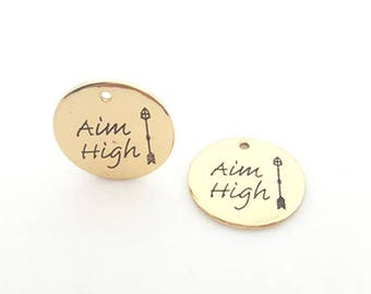 """Aim high"" round Medallion charm / ""The top is"" antique gold metal 25mm"
