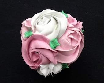 Lovely Pink Rosette Fake Cupcake