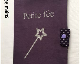 "Purple cotton health booklet protection cover and inscription ""fairy"" glitter"