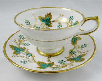 Vintage Tea Cup and Saucer with Green and Gold Leaves by Grosvenor, English Bone China, Teacup and Saucer