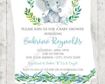 """SALE Custom Printed 4.25X5.5"""" Watercolor Elephant Baby Shower Invitations, envelopes included"""