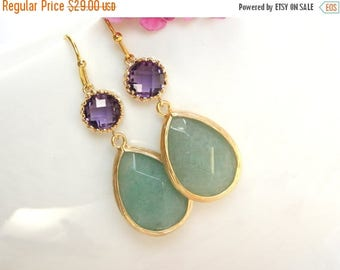 SALE Wedding Jewelry,Bridesmaid Jewelry, Green Agata Amethyst, Green Jade Purple, Bridesmaid Earrings, Brides Gifts, Drop,Gold, Dangle,Gift,