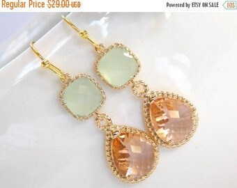 SALE Wedding Jewelry,Peach and Mint Earrings,Green and Champagne,Gold,Blush and Soft Green,Bridesmaid Jewelry,Wedding Gift,Dangle,Bridesmaid