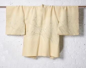Vintage 1960's Lemon Yellow Brocade Silk Japanese Kimono Jacket Haori with Urushi Lacquered Branches