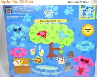 Blues Clues toy Feltkids felt story board playset Backyard fun summer fun pool party early education preschool story telling Magenta