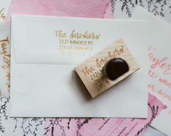 Custom Return Address Stamp   Hand Lettered Return Stamp   Personalized Rubber Stamp   Custom Stamp   Calligraphy Return Address