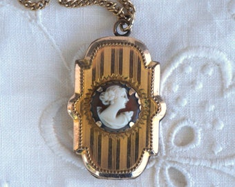 Antique VALE Victorian Gold Filled Shell Cameo Locket Necklace Sweetheart Bridal