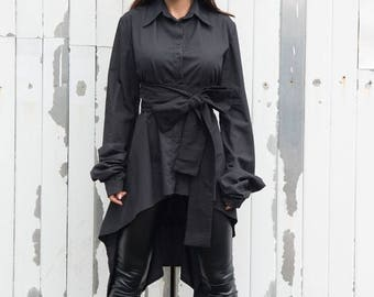 SALE Long Black Shirt / Cut Out Back Shirt / Asymmetric Black Tunic - XXL, XXXL, Xxxxl Available