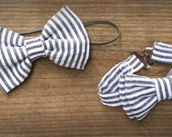 Headband/bow tie/tie/set/boys/newborn/adjustable/pinstripe/accessories/hairclip/ necktie/siblings/matching/twins/photoshoot