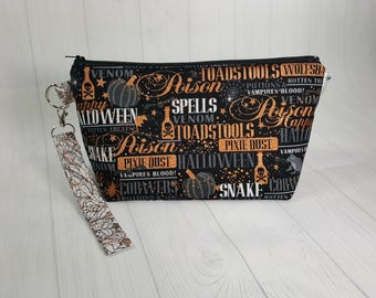 Spells Potions & Tricks, Small Knitting Project Bag, Zippered Wedge Bag, Zipper Knitting Bag, Cosmetic Bag, Sock Knitting Bag WS0058