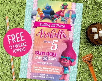"DIGITAL Trolls Invitation & Tags *FREE 2"" Toppers*, Trolls Party, Trolls Birthday Invitation, Trolls Thank You tag, Trolls Theme Printables"