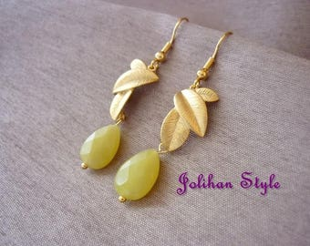 "Earrings ""scented olive"" elegant earrings with olive jade"