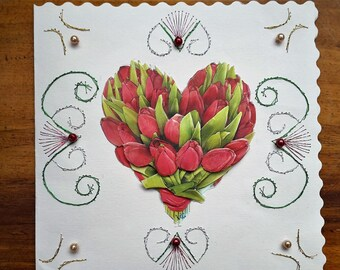 Heart of tulips - hand made 3D card