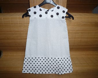 Black and white, black polka dots on white background, size 2 years baby dress