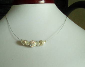Necklace Pearl Crystal ivory yarn hypoallergenic available on wedding