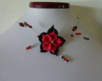 Flower polymer clay black and Red wire hypoallergenic available on wedding