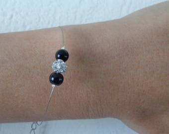 Bracelet beads rhinestone Crystal and black pearly wire hypoallergenic available on wedding