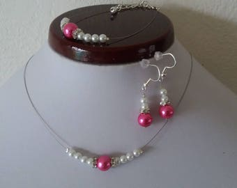 set necklace bracelet earrings Fuchsia rhinestone white wedding beads