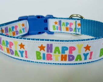 Happy Birthday Party Dog Collar - Blue - Ready to Ship!