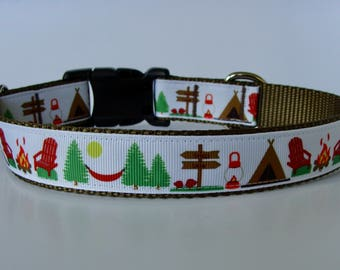 Let's Go Camping Dog Collar - Ready to Ship!