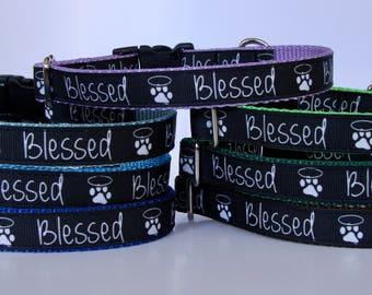 Blessed Paw Print Small Dog Collar - Ready to Ship!