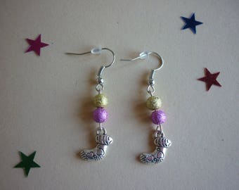 Shiny Gold, pink beads and silver metal Christmas stocking charm earrings.