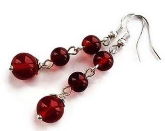 Sterling Silver Red Earrings Glass Jewelry Long Earrings Statement Jewelry Glass Earrings Bohemian Jewelry Silver Earrings Red Jewelry Gift