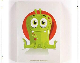 """Postcard illustration """"green orange Monster"""" card"""