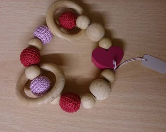 Heart Purple fuchsia color teething ring