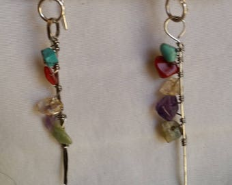 Hand-Hammered Metal and Semi-Precious Stone Drop Earrings (short version)