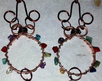 Multi-Stone & Copper Chandelier Earrings