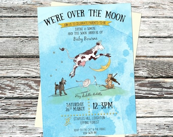 Personalised Nursery Rhyme Baby Shower Invite, Hey Diddle Diddle invitation, Over the Moon, Vintage, parents-to-be, mother-to-be, animals