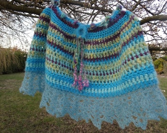 Poncho hooked with hand spun wool and mohair