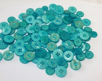 Blue buttons, 50 assorted shape and size aqua blue craft buttons, beautiful medium large aqua blue color buttons, chunky buttons