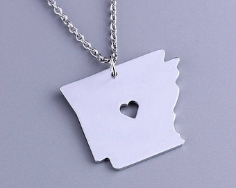 I heart Arkansas Necklace - Arkansas Pendant - State Charm - Map necklace - Map Jewelry