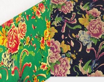 2 m fabric Chinese black green Peony clothing cotton linen laohua