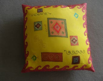 """Morocco"" geometry d'or@evysoie yellow silk cushion"
