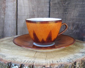 Vintage Art Pottery Hand Painted Porcelain Coffee Cup & Saucer; Cinnamon and Brown Coffee Set / Tea Set; Scandinavian Pottery Vtg