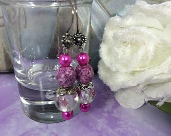 Earrings ' ear pink marbled glass beads