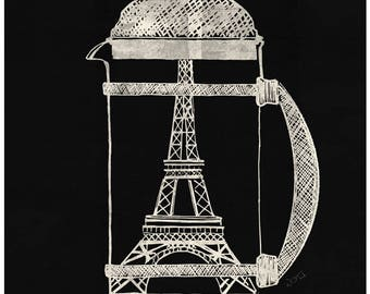 French Press by ND Tank Home Decor Wall Decor Giclee Art Print Poster A4 A3 A2 Large Print