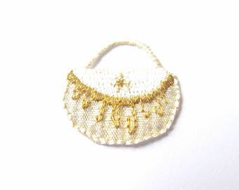MINI BAG WHITE EMBROIDERED GOLD AND SILVER HOLOGRAPHIC TRANSFER HOT FIX 2.5 CM