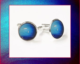 Neptune Cufflinks presented in a silver and black gift box with high quality, descriptive photo card