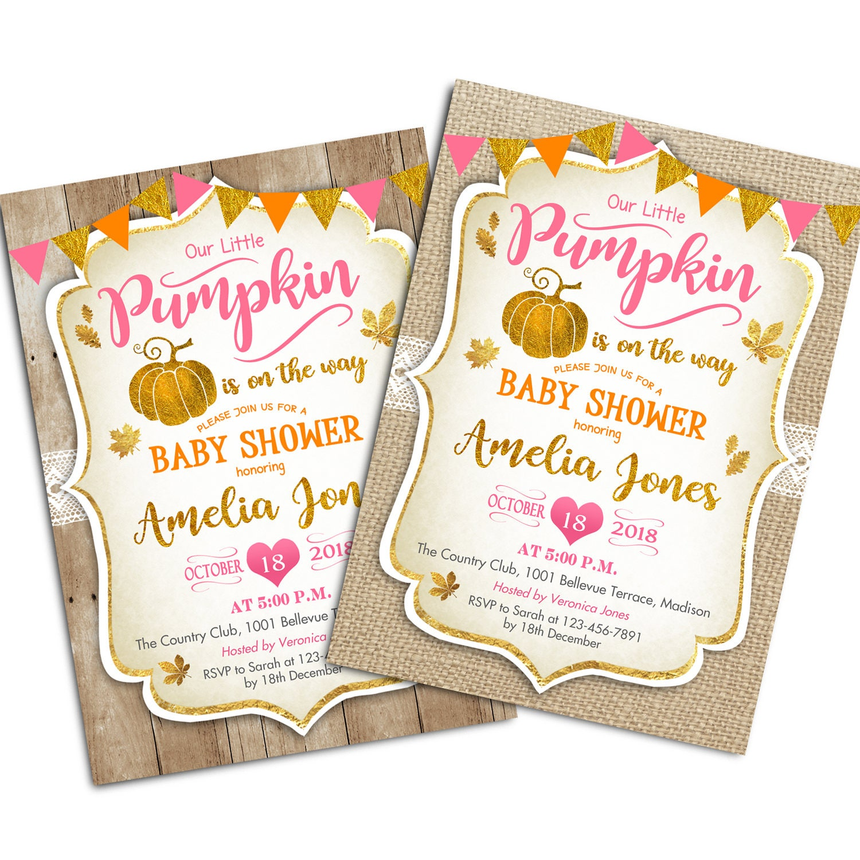 Rustic Fall Baby Shower Invitation. Little Pumpkin Baby Shower ...