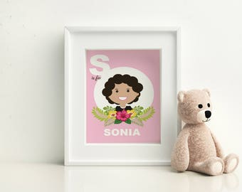 Nursery Wall Art- Sonia Sotomayor - S is for Sonia