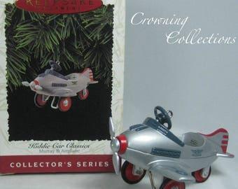 1996 Hallmark Kiddie Car Classics Murray Airplane Ornament Keepsake Christmas Peddle Car Christmas Vintage Metal Plane Third in Series 3rd