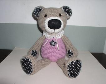 Teddy bear amigurumi Alpaca with fabric and lace