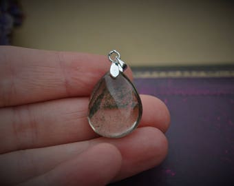 Lodolite pendant, silver bail and her necklace