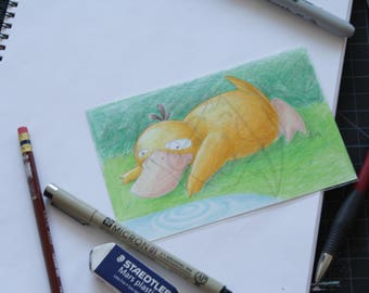 Pokemon Psyduck 4x6 pencil crayon drawing
