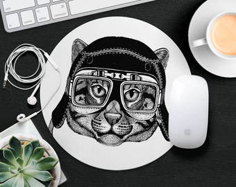 Cat Mouse Pad Animal in Glasses Cute Mouse Mat Funny Mouse Pad Kid Leopard MousePad Hipster Mouse Mat Desk Accessories Animal Lover Gift